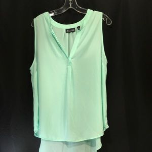 7th Ave New York & Co Mint Chiffon Crepe Blouse